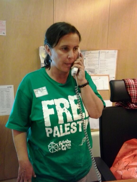 Ana Miranda esta mañana, tras llegar a Barajas y desplazarse al despacho del BNG en el Congreso.
