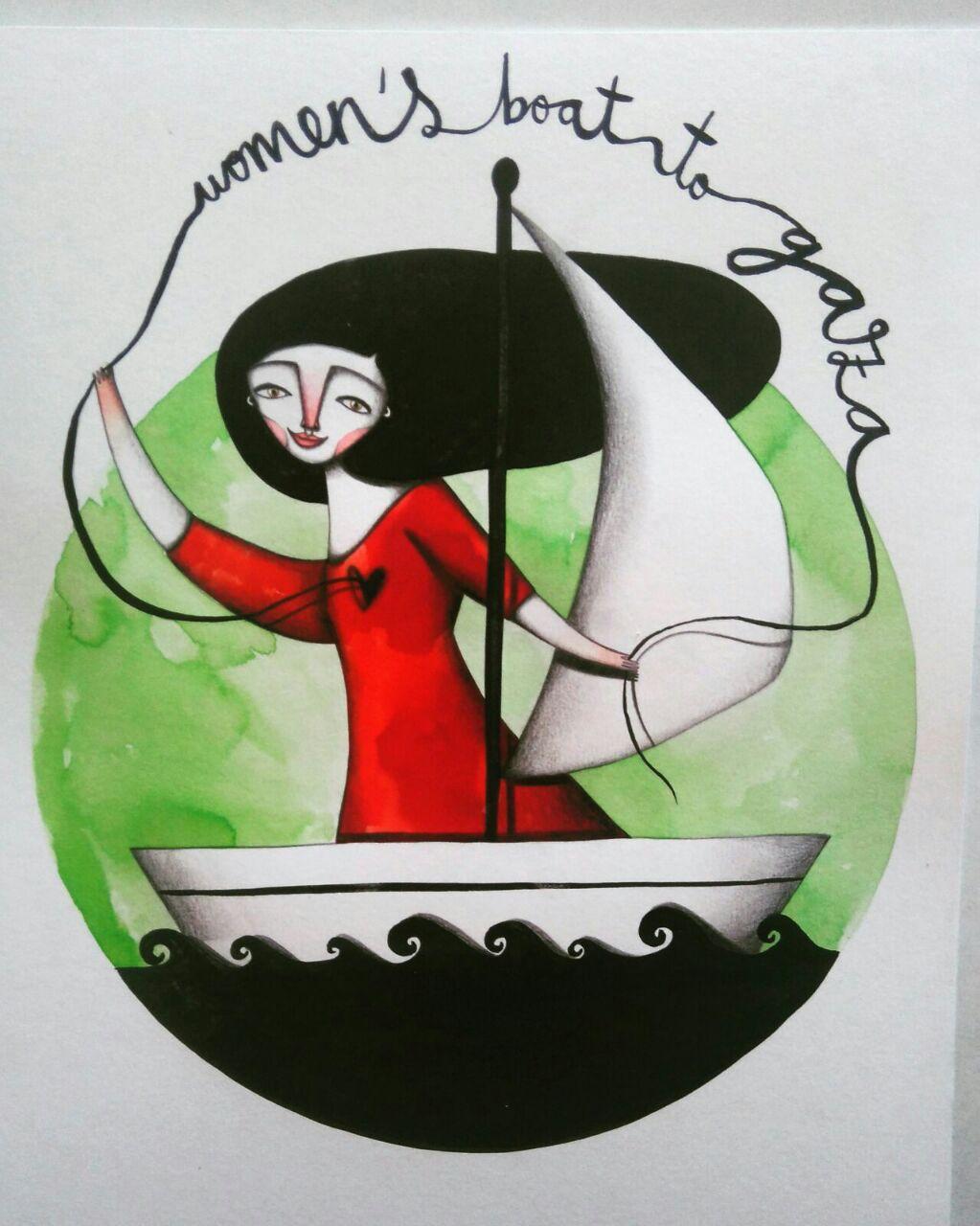 Logotipo para MUJERES RUMBO A GAZA. Iris Serrano.