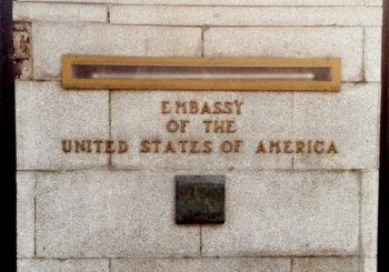 Rumbo a Gaza protesta por la inmunidad de crímenes israelíes ante la Embajada estadounidense