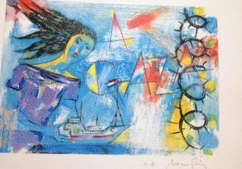 Ilustración del artista Acacio Puig para el Concurso Literario de la Flotilla de la Libertad