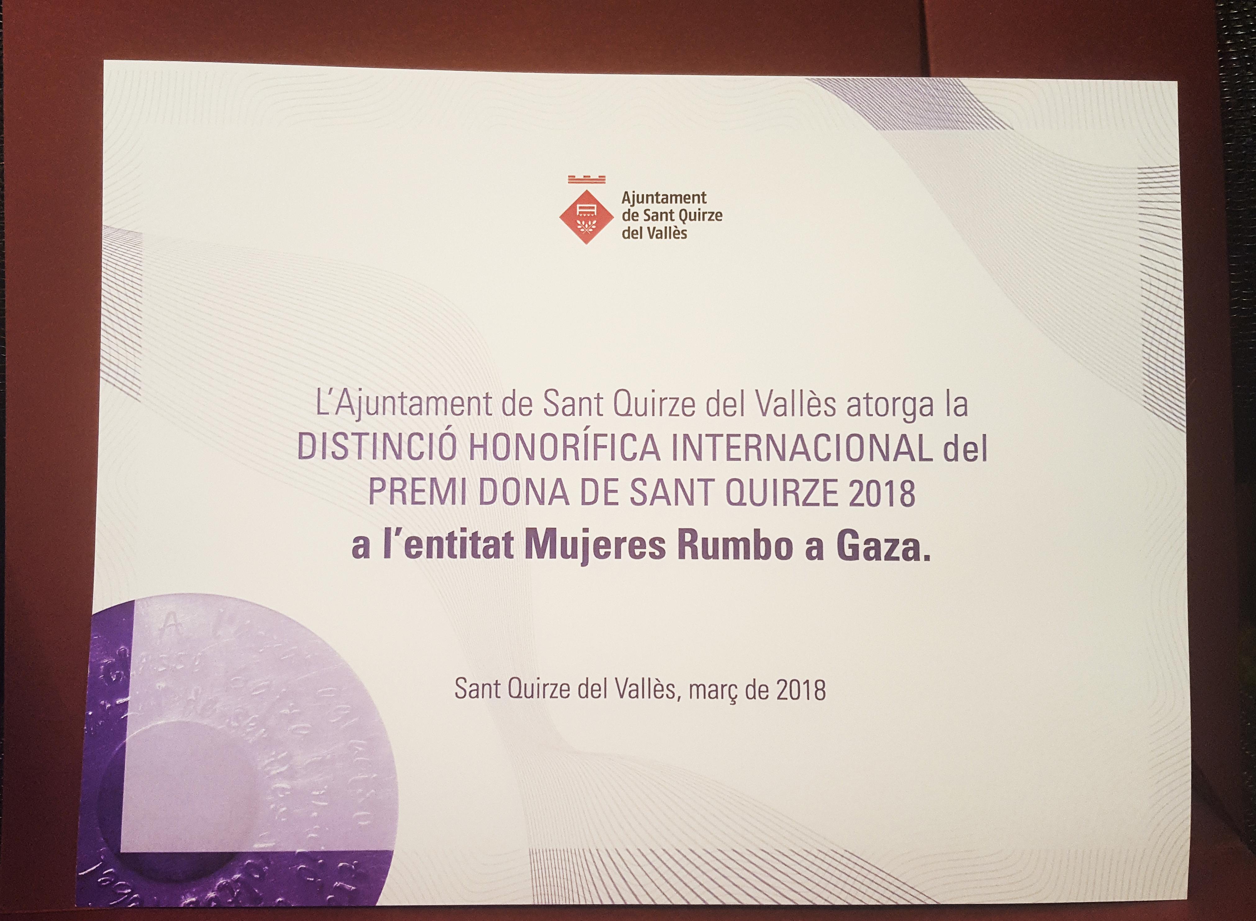 Mujeres Rumbo a Gaza, Premi Dona Internacional Sant Quirze 2018